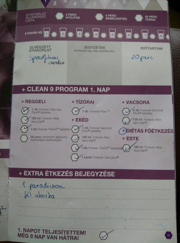 Forever C9 - Clean 9 program napló - 1. nap