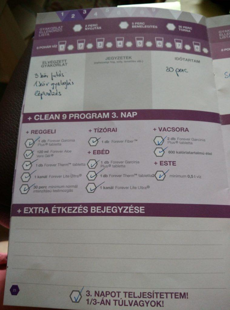 Forever C9 - Clean 9 program napló - 3. nap
