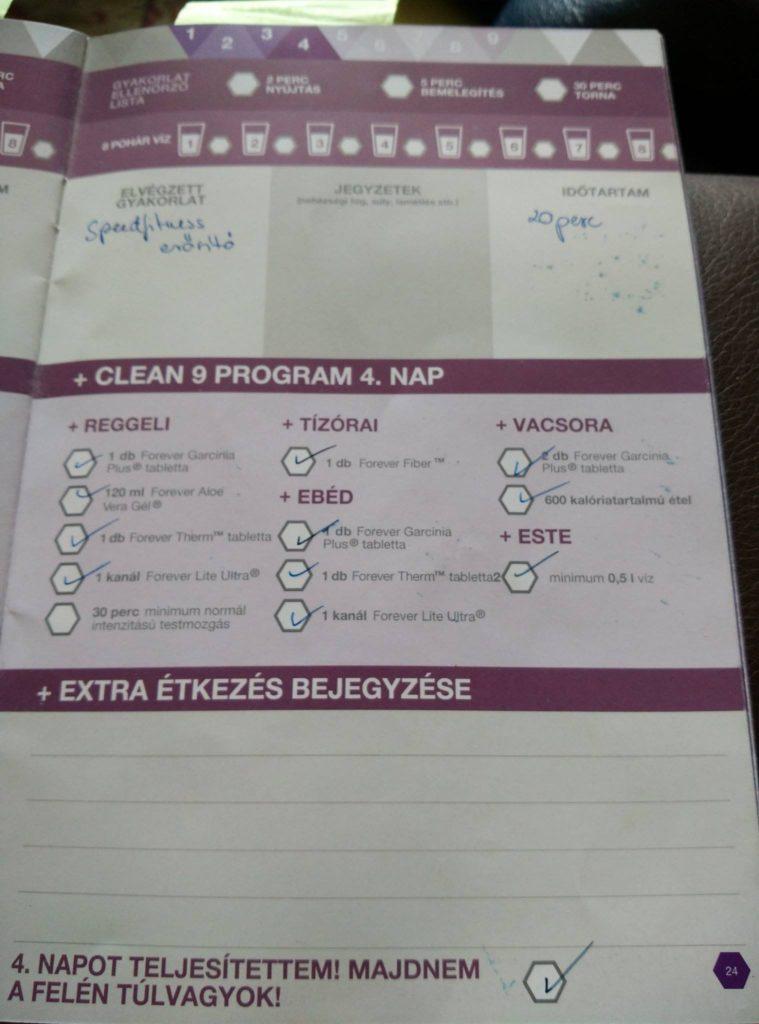 Forever C9 - Clean 9 program napló - 4. nap