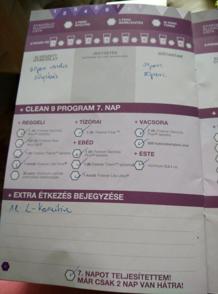 Forever C9 - Clean 9 program napló - 7. nap