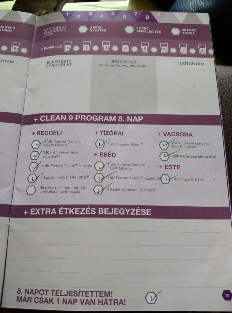 Forever C9 - Clean 9 program napló - 8. nap